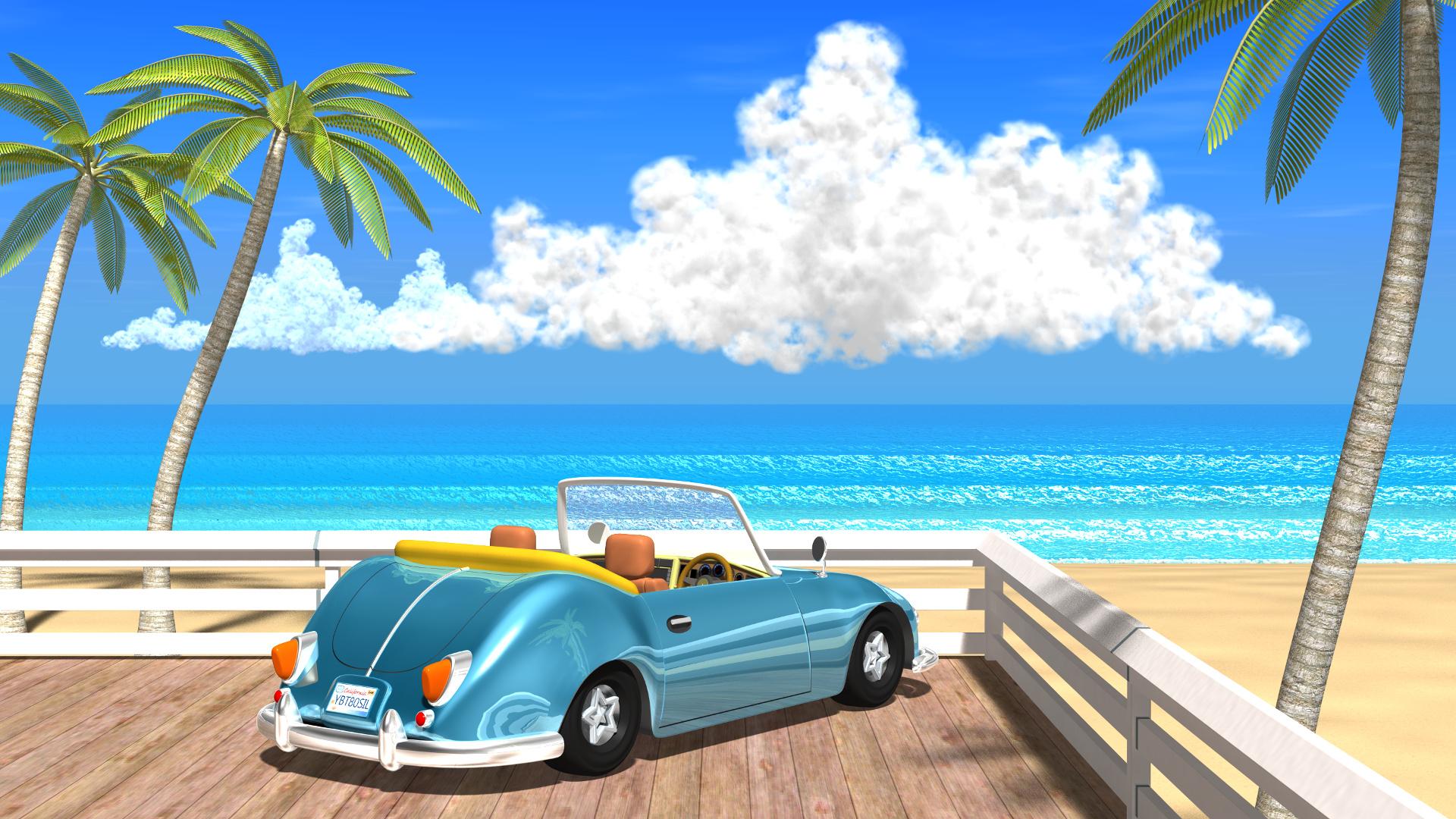 3DCG壁紙 夏の海と椰子の木と車-1