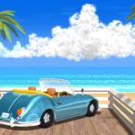 80年代ポップアート風3DCGの夏の海と車の壁紙