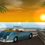 3DCGの夏の海と車の壁紙(夕陽バージョン)