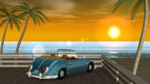 3DCG壁紙 夏の海と椰子の木と車(夕陽)-1