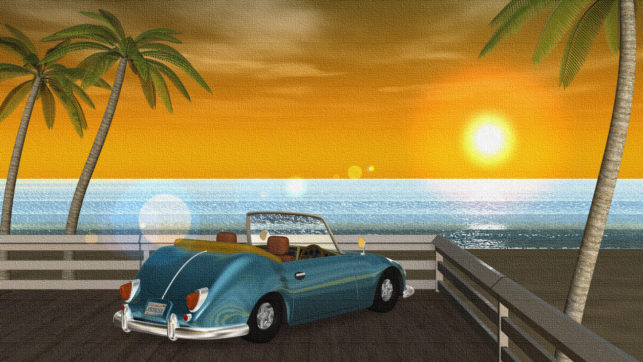 3DCG壁紙 夏の海と椰子の木と車(夕陽)-2