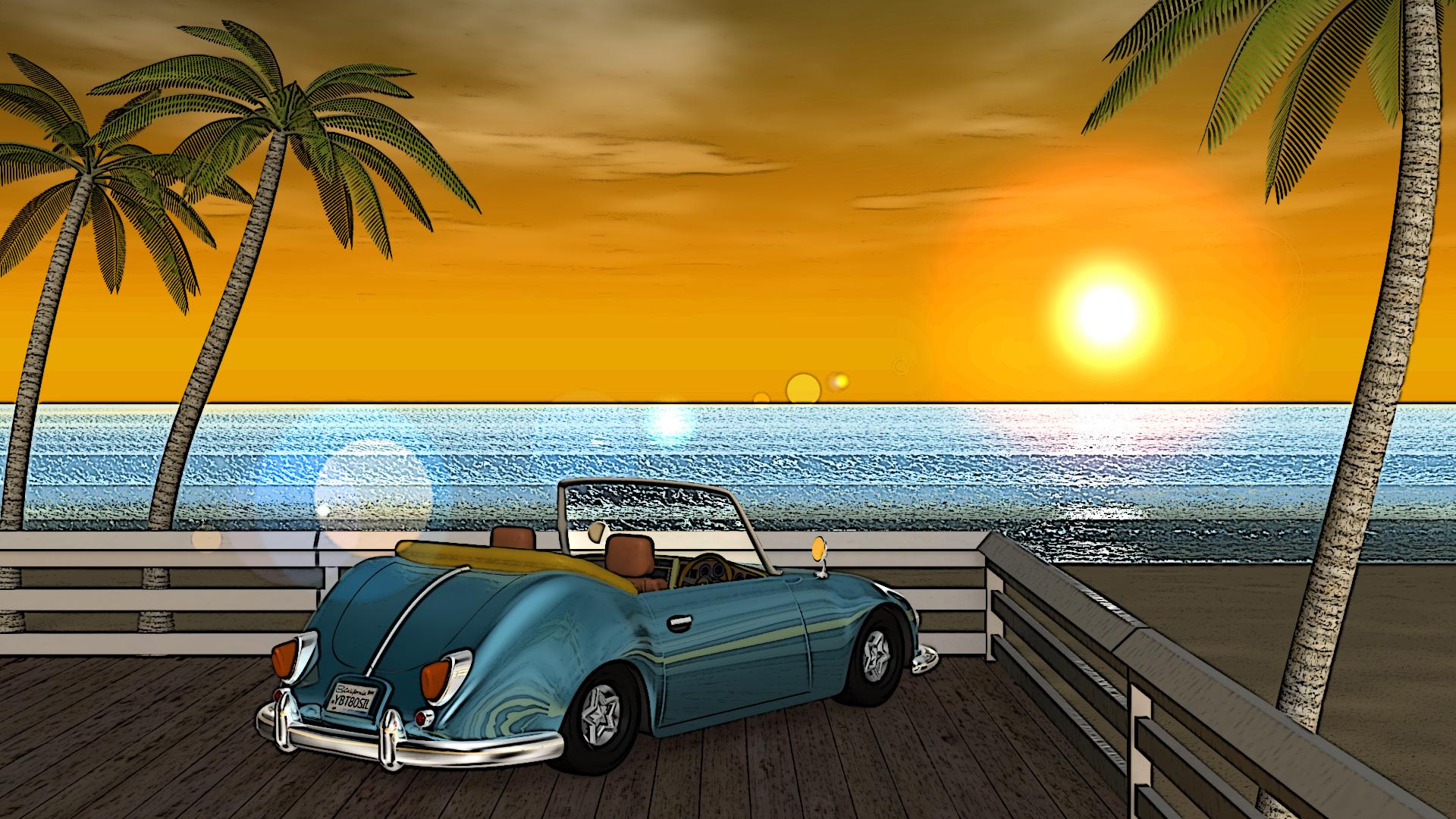 3DCG壁紙 夏の海と椰子の木と車(夕陽)-3