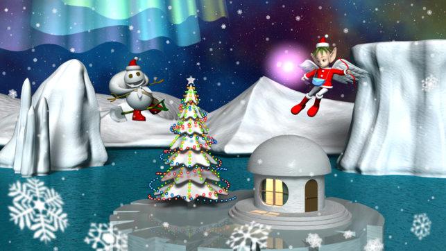 3DCG壁紙 雪だるまとエンジェル2020