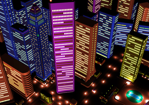高層ビル群夜景(別色調)(3Dの建物・街)