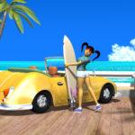 3DCG壁紙 3Dキャラクター夏のシティポップ風2
