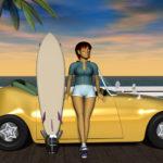 3DCG壁紙 3Dキャラクター夏のシティポップ風4s