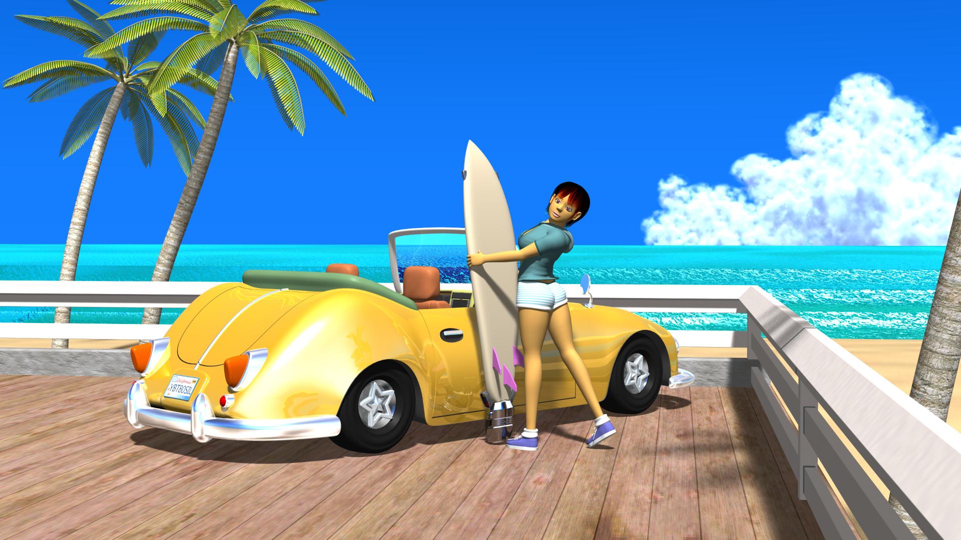 3DCG壁紙 3Dキャラクター夏のシティポップ風2s