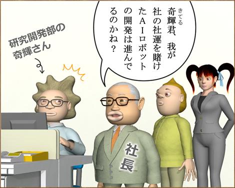 4コマ漫画(3Dキャラクター)AI(人工知能)ロボット1①