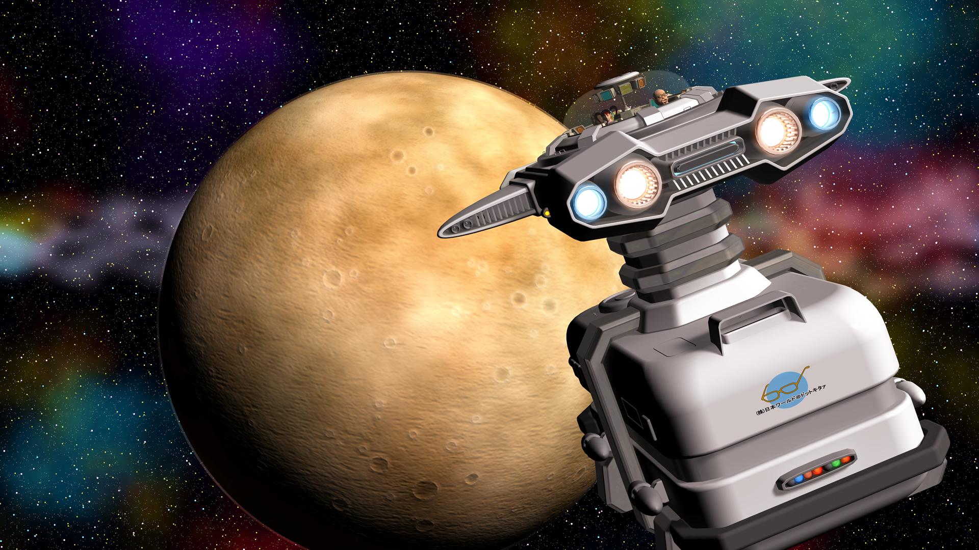 3Dキャラと宇宙船と惑星