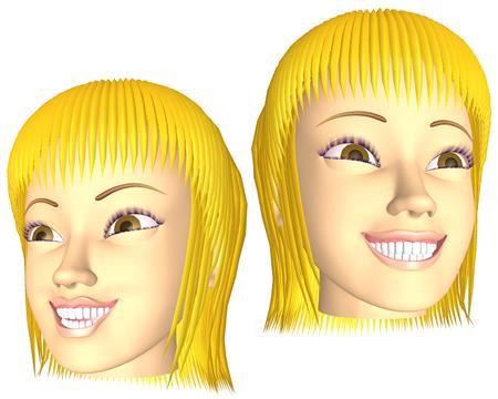 ポリゴン女性(狂気顔)(3Dキャラ)