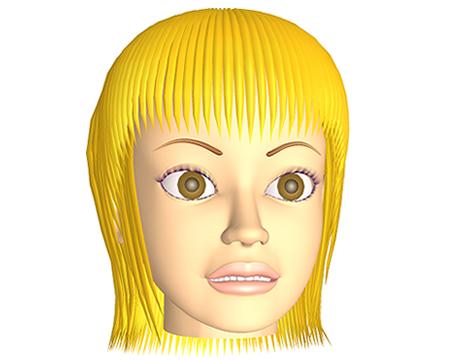 ポリゴン女性怒り顔(3Dキャラ)