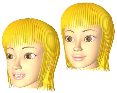 ポリゴン女性笑顔(3Dキャラ)