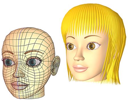 ポリゴン女性顔WF(3Dキャラ)