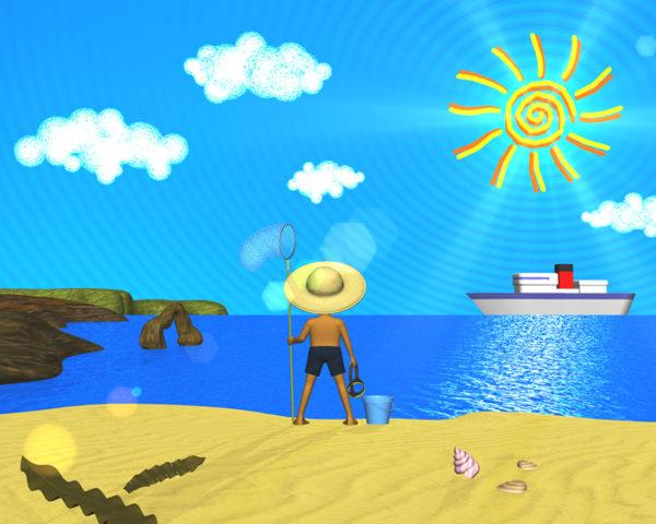 海と砂浜と太陽(その他の3DCG)
