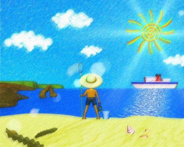 海と砂浜と太陽(色鉛筆画風)(その他の3DCG)