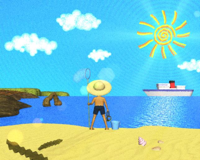 海と砂浜と太陽(パステル画風)(その他の3DCG)