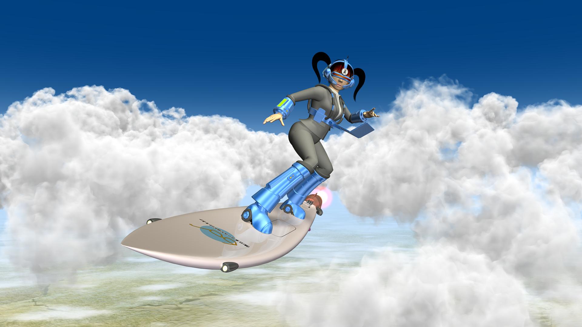 3DキャラクターOLのサーフィン
