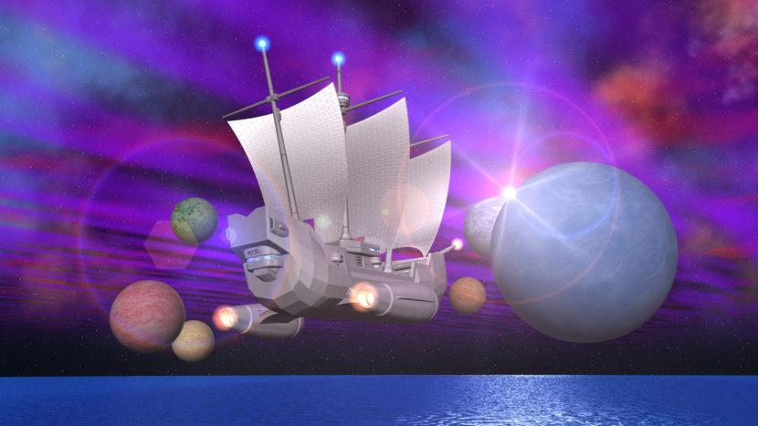 3DCG壁紙 宇宙帆船StarMariaと惑星と海
