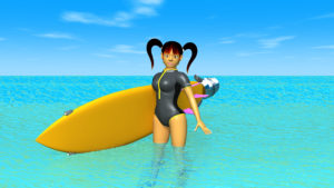 海とサーフボードと3DキャラクターのOL-4