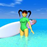 夏の海と3Dキャラクターの壁紙サイズ画像
