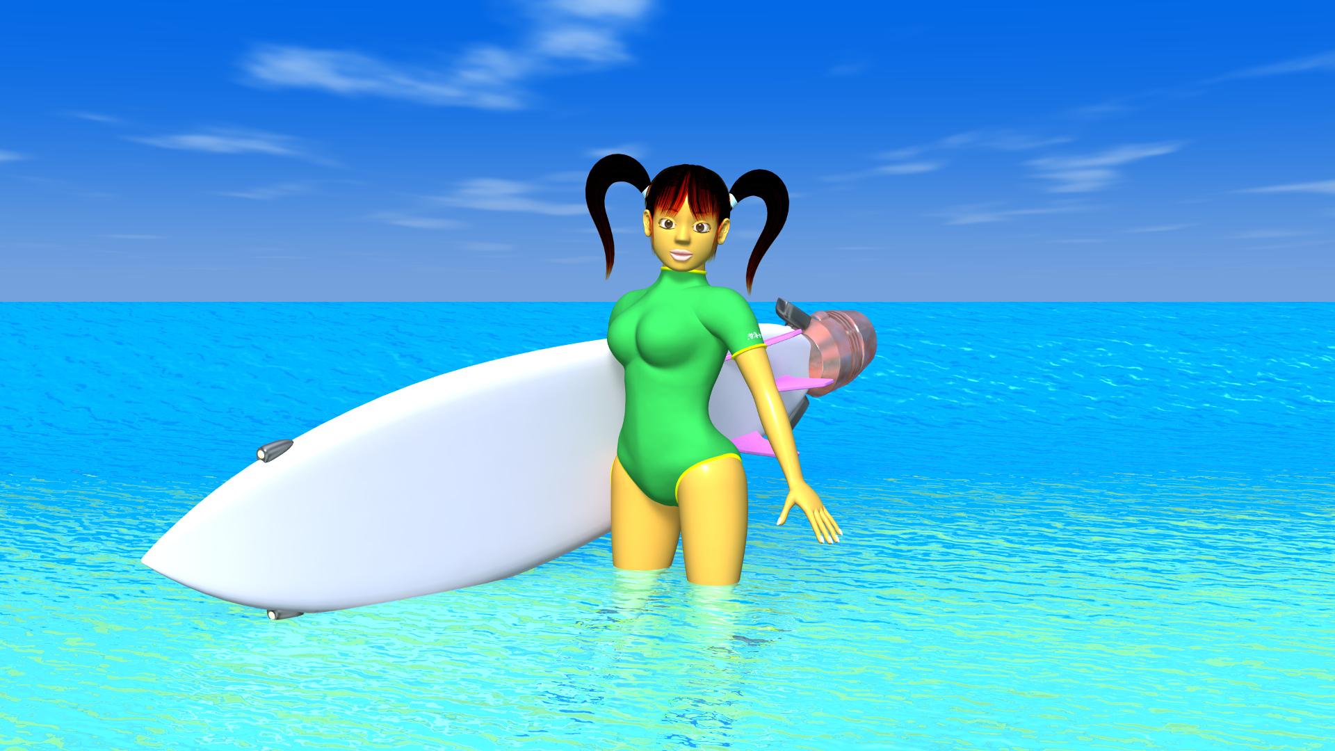 海とサーフボードと3DキャラクターのOL-2