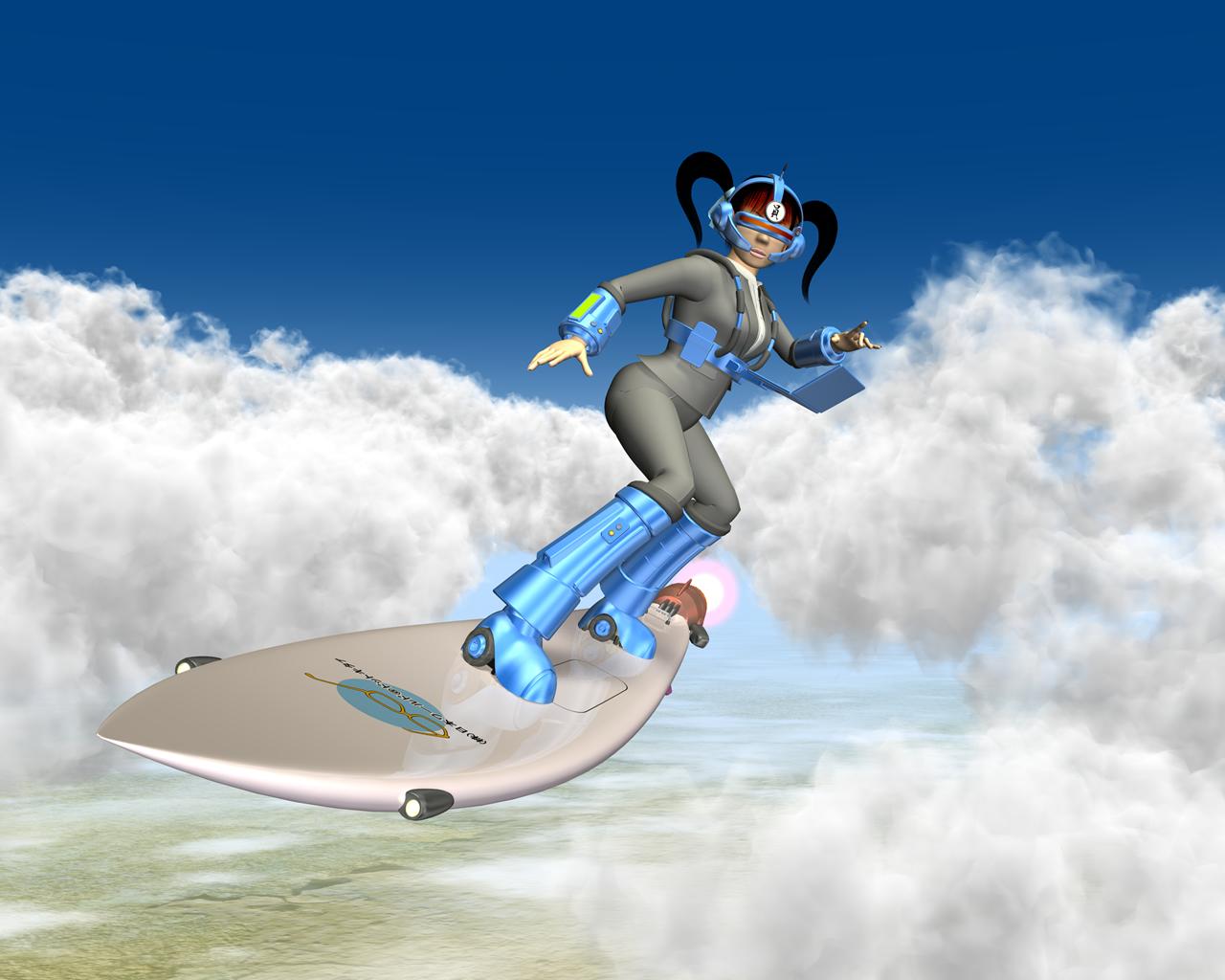 OL(ウェアラブルと空中サーフィン2)(3Dキャラ)