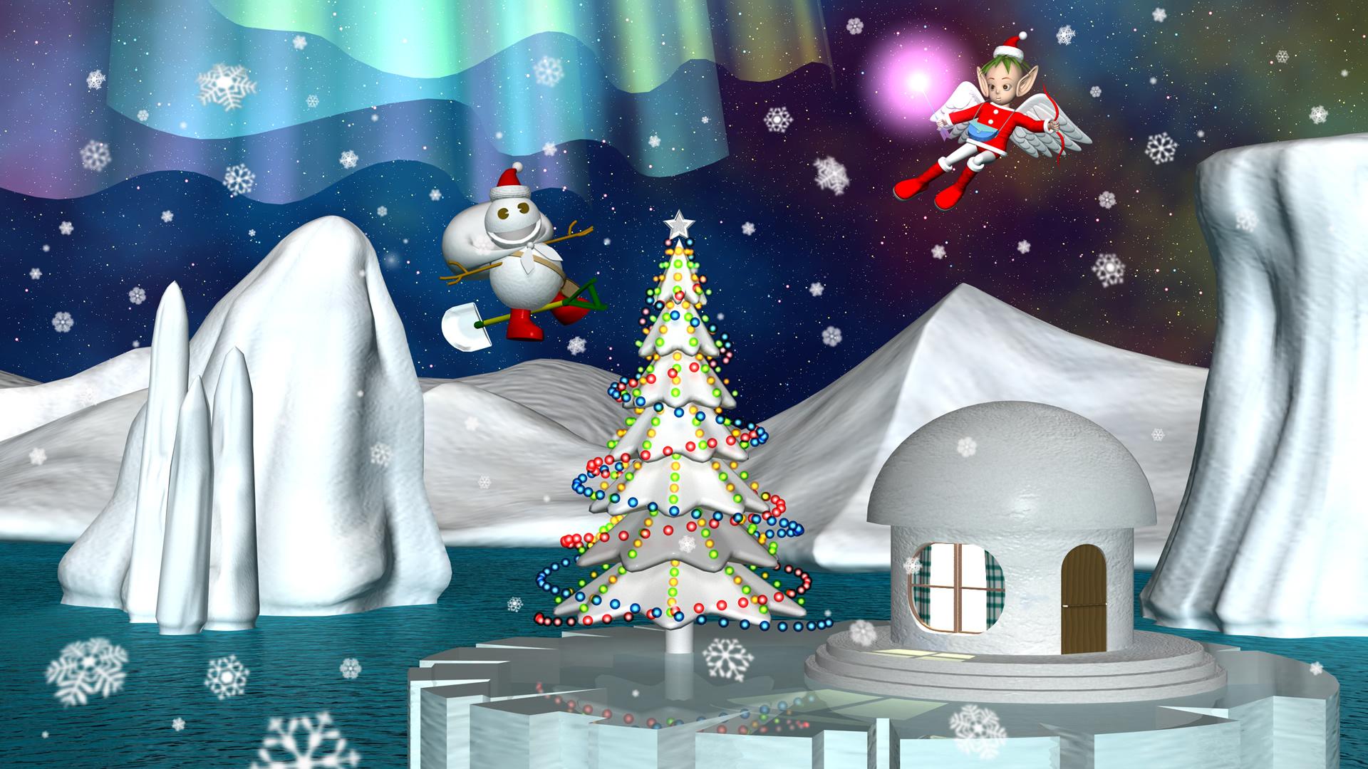 3DCG壁紙 スノーポストマン(雪だるま)とエンジェル