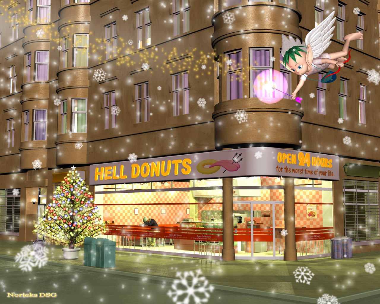 3DCG壁紙 クリスマス in Hell Donuts