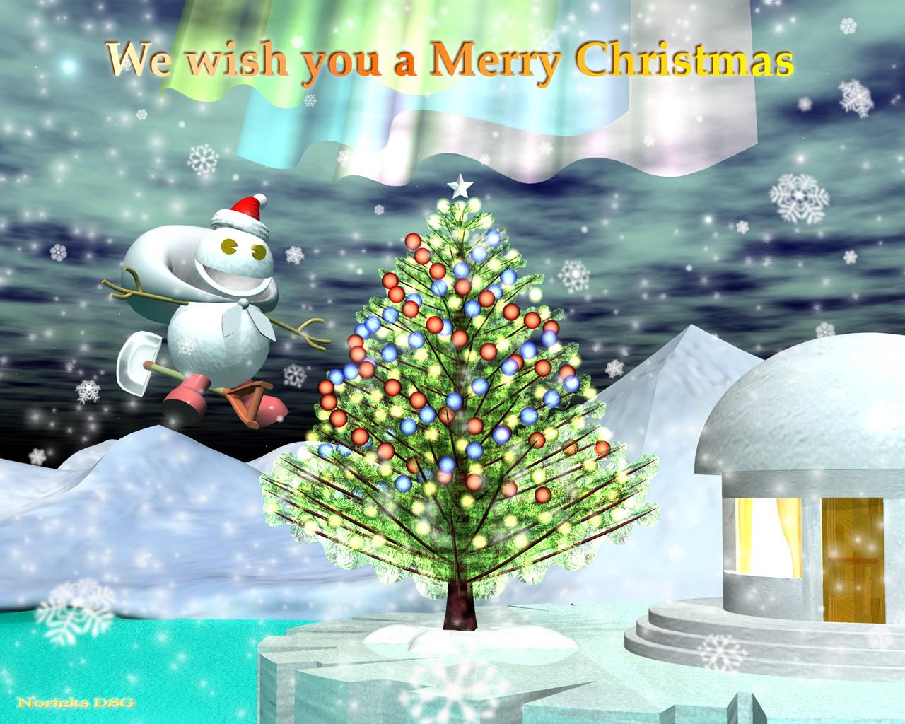 3DCG壁紙 雪だるまクリスマス用壁紙